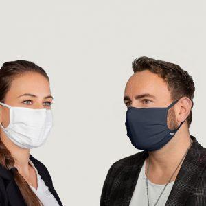 Mehrweg Mund-/Nasenmaske aus Stoff blau / 10 Stück
